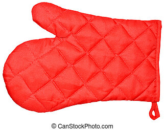 Kitchen red mitten - Red kitchen glove isolated on white...