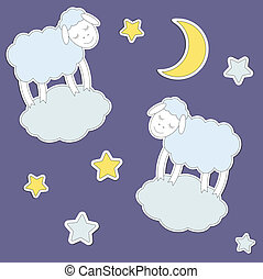 Cute sheep,moon and stars