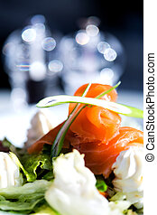 Smoked salmon with cream and salad - Smoked salmon with...
