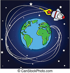 Hand drawn spaceship flying around the world with star...