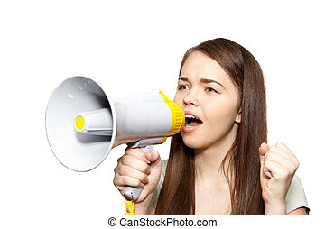 The young woman with megaphone - The young beautiful woman...