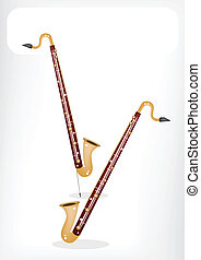 A Musical Bass Clarinet with A White Banner - Music...
