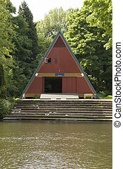 Boathouse - A wooden boathouse on the river medway in Kent