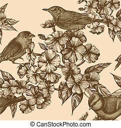Seamless pattern with birds and flowering phloxes. Vector...