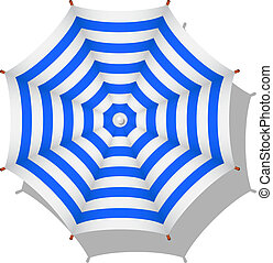 Striped beach umbrella - Blue and white striped beach...