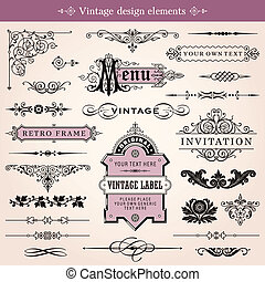Vintage Design Elements Vector - Vector Vintage Calligraphic...