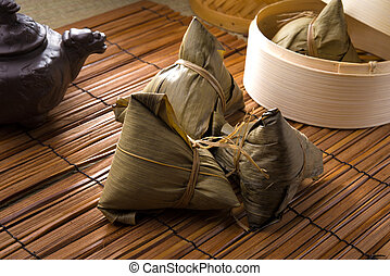 chinese dumplings, zongzi usually taken during festival...