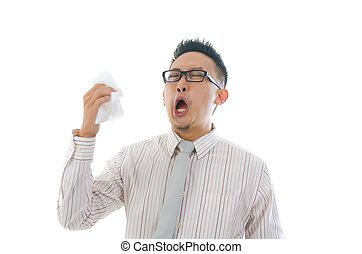 asian business man having a sick flu, sneeze