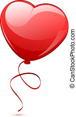 illustration of red heart balloon - Vector illustration of...
