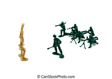 Never Trust the Enemy Concept - Isolated Plastic Toy...