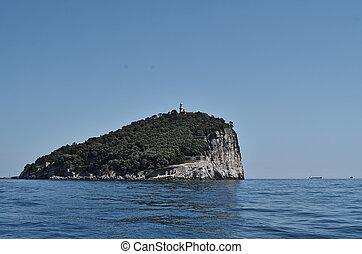island of tino near la spezia in italy