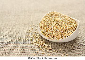 Quinoa, grano, blanco, cerámico, tazón,...
