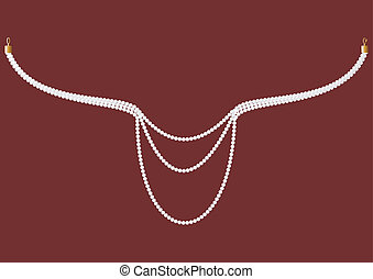 Necklace of pearls. - Pearl necklace with clasps, on a...
