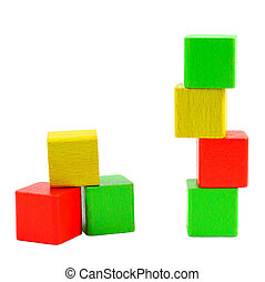 Wooden toy blocks isolated on white