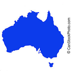 Outline map of Australia and Tasmania
