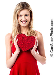 Will you be my valentine - Beautiful young girl holding...