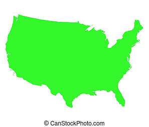 United States of America outline map in green, isolated on...