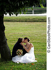Newlywed couple in love kissing under tree on field in...