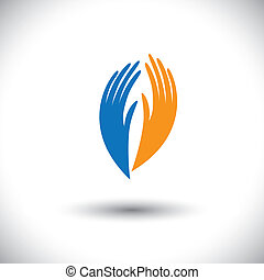 Concept vector graphic- womans palm symbols representing...