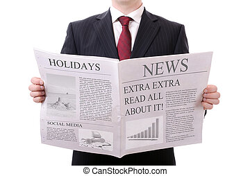 blank newspaper - businessman holding a blank news paper...