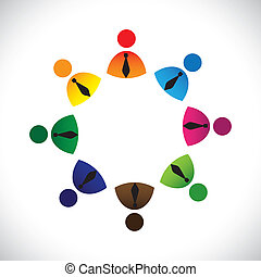 Concept vector graphic- colorful company executives ring icons(signs). The illustration shows concepts like worker unions,employee diversity,community friendship & sharing,kids playing,etc