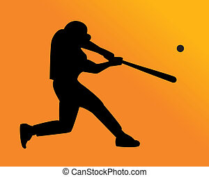 baseball player hits the ball on an orange background