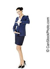 婦女, 事務, 空間, 舍入, 顯示, 年輕, 模仿, 愉快