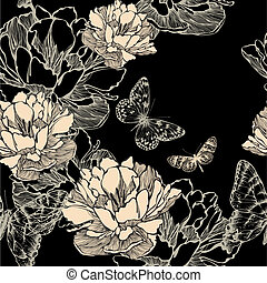 Seamless pattern with abstract flowers bloom and butterflies, hand-drawing. Vector illustration.