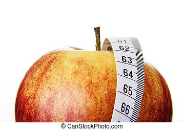 conceito, maçã, dieta