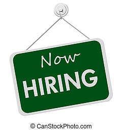 Now Hiring Sign - A green and white sign with the words Now...