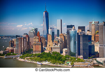 New York Stunning helicopter view of lower Manhattan Skyline...