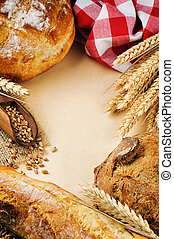 Vintage frame with fresh traditional bread
