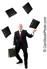 file juggling - Concept of multi tasking in business, man...