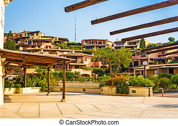 Porto Cervo, Sardinia, houses in mediterranean style