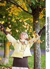 otoño, hojas, mujer, 3º edad, Caer