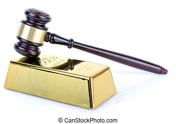 Price of gold gold bullion bar and gavel on white background