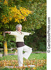 Woman Standing On One Leg While Doing Yoga In Park - Full...