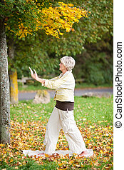 Senior Woman With Arms Raised Doing Yoga In Park