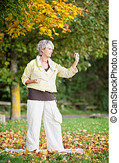 Senior Woman Performing Tai Chi - Portrait of concentrated...