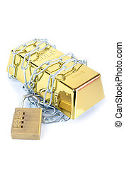 Secured gold bar - Gold bullion bar ingot chained up with...