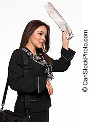 Job hunter - Brunette Hispanic woman wearing business suit...