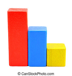 Stairs of wooden toy blocks - Stairs of multicolored wooden...