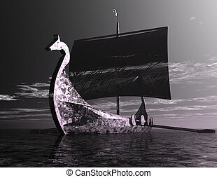 Viking Ship - Digital Illustration of a Viking Ship