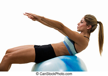 Woman doing sit ups - Attractive blond woman in great...
