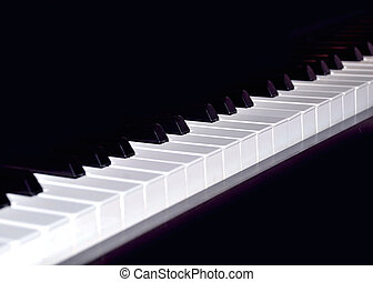 Keyboard of piano in black an white