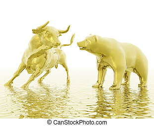 bull and bear - digital visualization of bull and  bear
