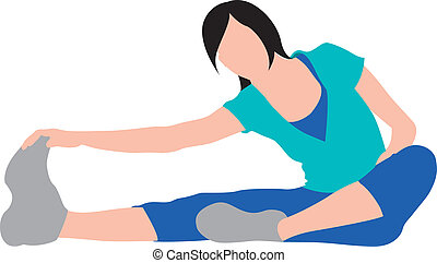girl exercising and stretching illustration