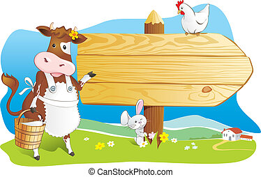 Funny farm animals wooden signboard - Cute cartoon cow with...