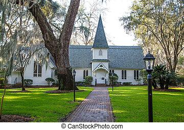 Small Church Past Brick Walk and Green Lawn Horizontal -...