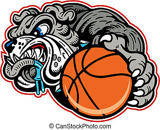 bulldog with basketball
